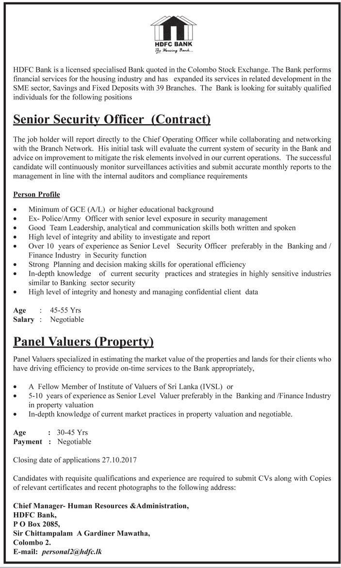 Panel Valuers (Property) - Senior Security Officer (Contract) – HDFC Bank