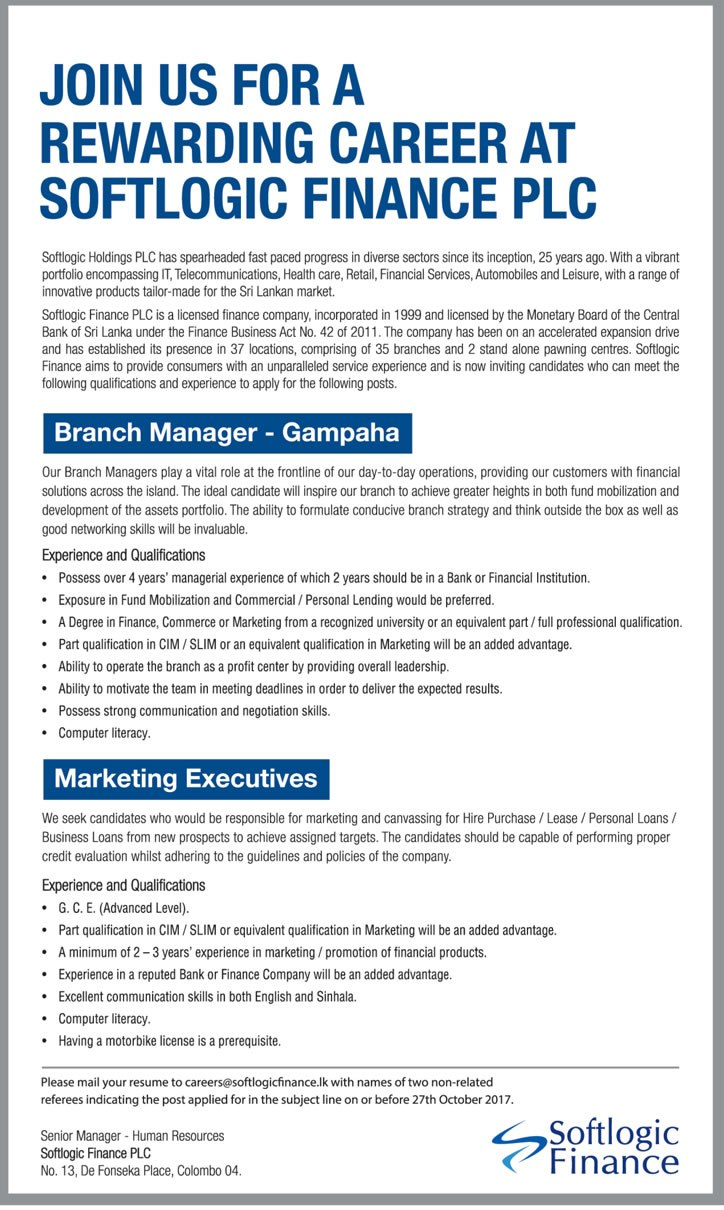 Job Vacancies in Softlogic Finance PLC - Branch Manager, Marketing Excecutive