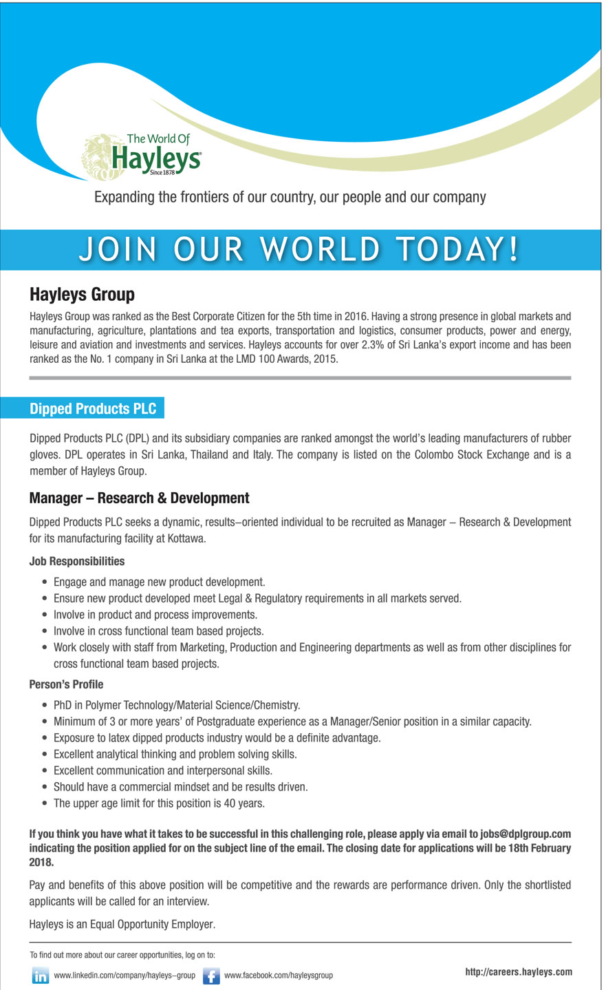 Manager Heyleys Company - Research & Development