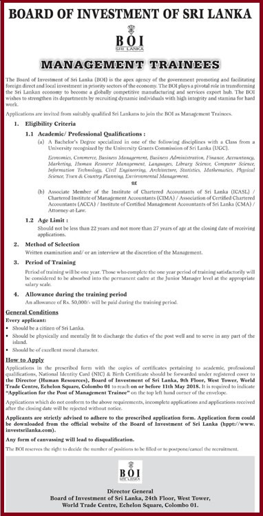 Board of Investment of Sri Lanka - Management Trainees