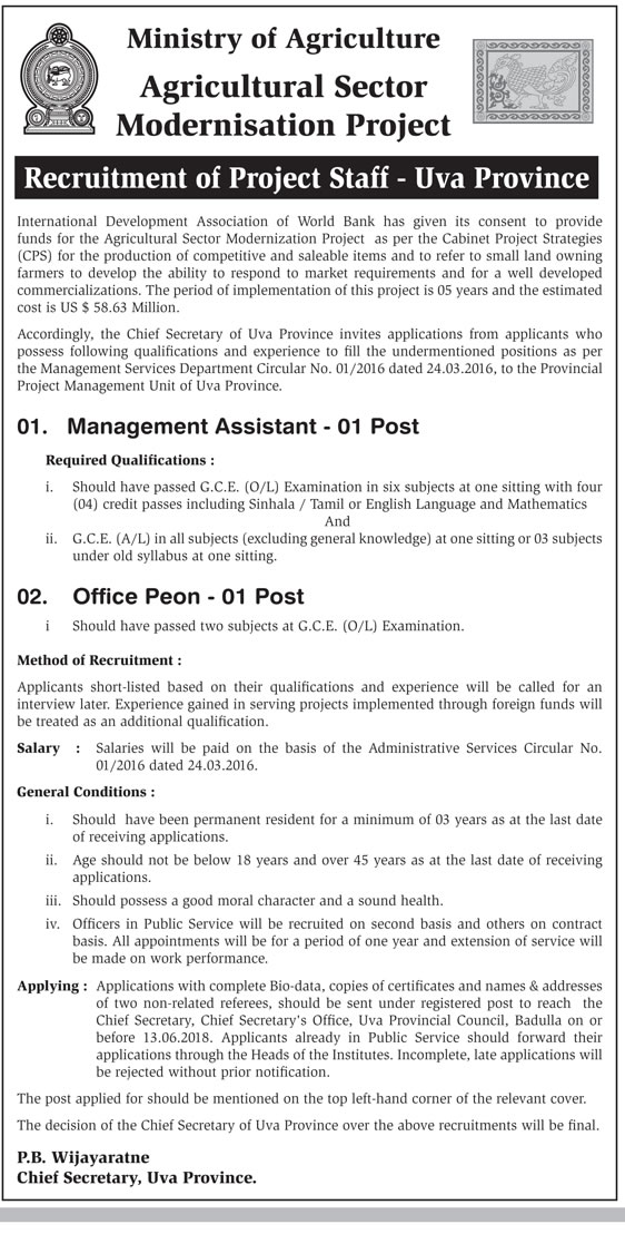 Management Assistant, Office Peon