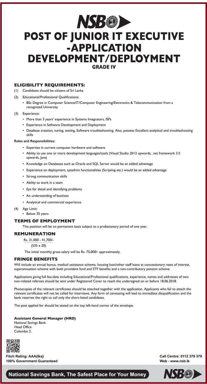 Junior IT Executive Job Vacancy