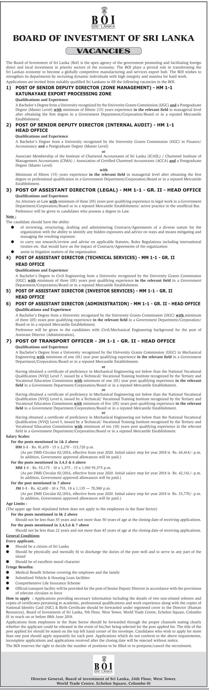 Assistant Director , Senior Deputy Director, Senior Deputy Director, Transport Officer Vacancy