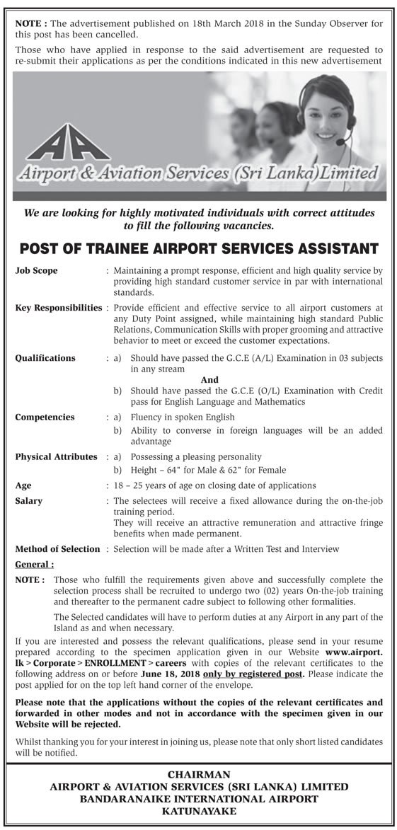Trainee airport services assistant