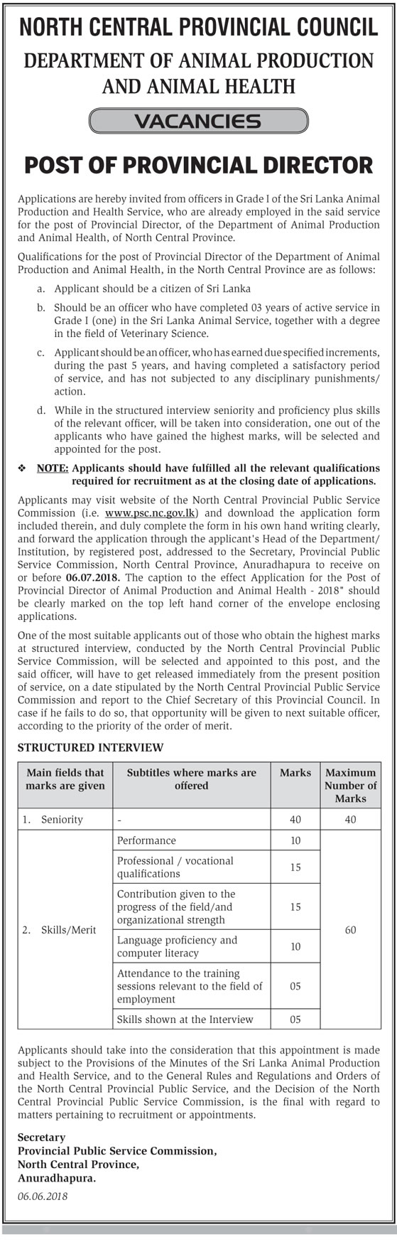 Provincial Director Vacancy - North Central Provincial Council