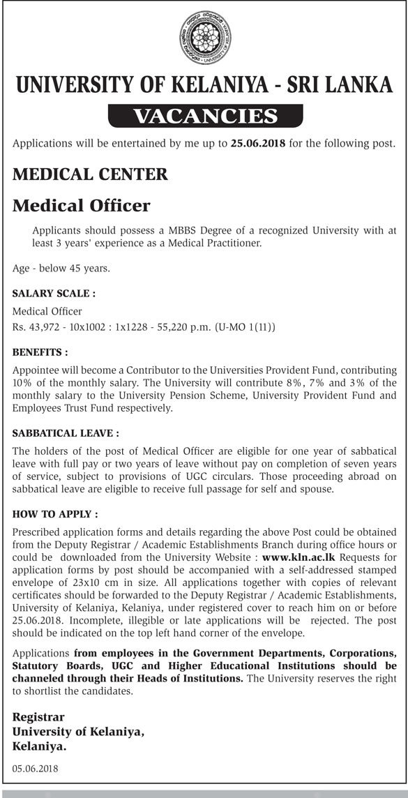 Medical Officer Job Vacancy