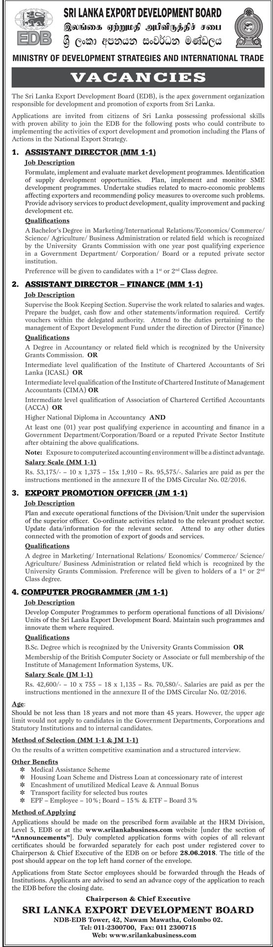 Assistant Director, Export Promotion Officer, Computer Programmer