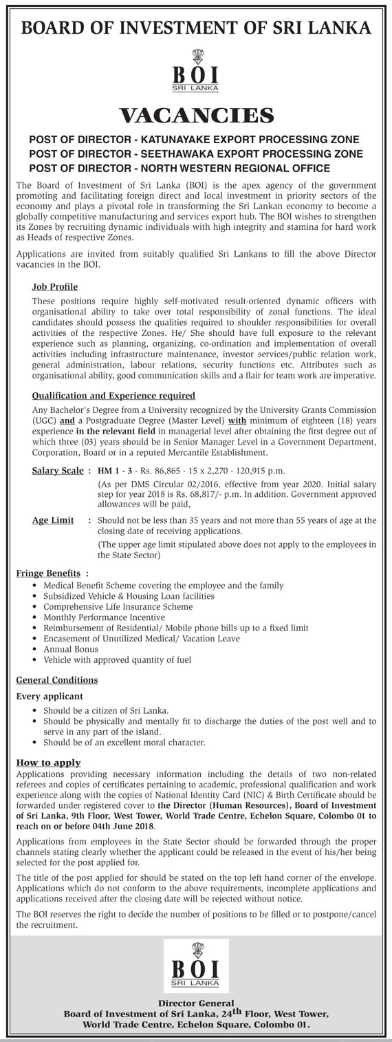 Director Job Vacancy - Board of Investment of Sri Lanka (BOI)