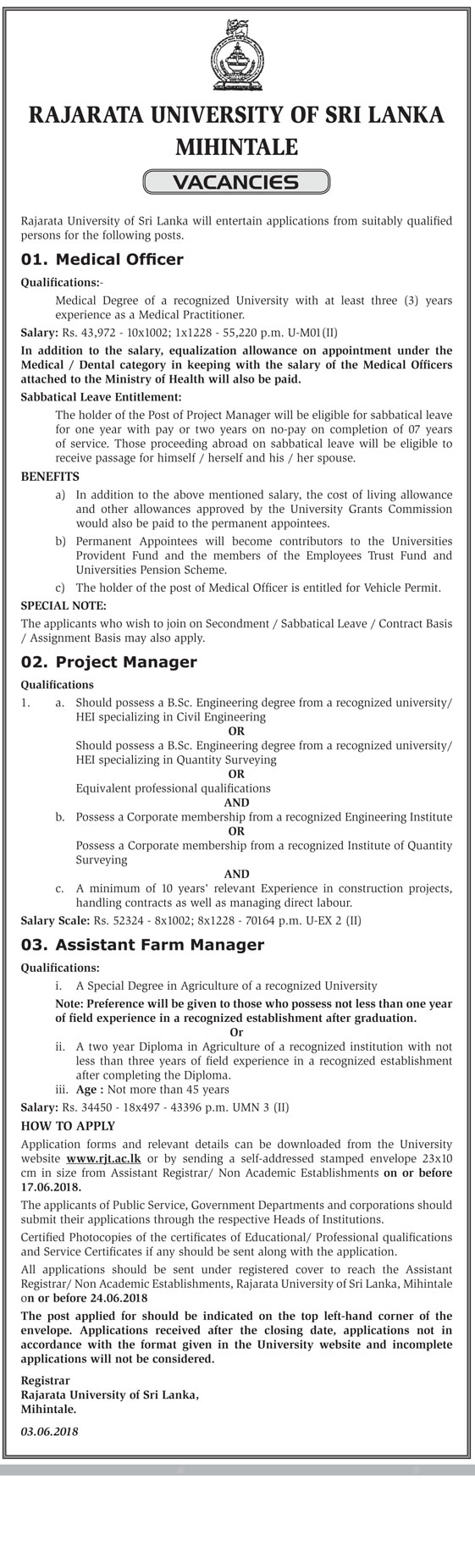 Assistant Farm Manager, Medical Officer and Project Manager Vacancy
