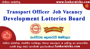 Transport Officer Job Vacancy – Development Lotteries Board