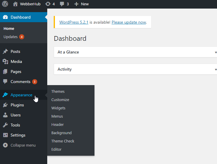 Wordpress Admin Dashboard page