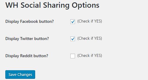 Social Share Plugin options